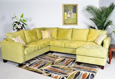 Apple Fabric 4Pc Contemporary Sectional Sofa w/Wooden Legs