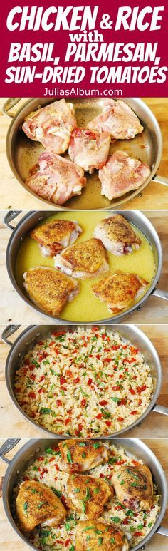 Chicken and Rice with Sun-Dried Tomatoes, fresh Basil, & Parmesan Cheese - easy, healthy, gluten free Italian-style recipe.