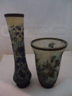 shopgoodwill.com: Set of 2 Signed Cameo Glass Vases