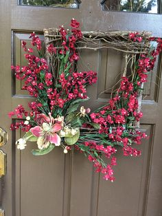 Square Grapevine Twig Wreath, Twigs, Wreath, Motheru0027s Day Wreath, Front Door  Decor, Front Door Wreath Grapevine Square, Burguandy Flower