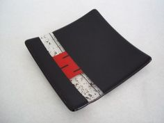 Black and Red Stripe Fused Glass Plate by SunflowerGlassworks, $21.00