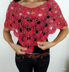 Handmade by me: Crochet summer poncho - Virkattu kesä poncho Crochet Top, Crochet Patterns, Crafty, Summer, Handmade, Handicraft, Tops, Tutorials, Women