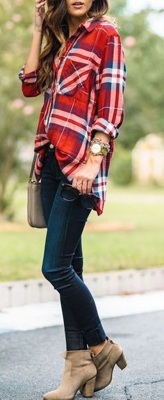 #thanksgiving #fashion · Red Plaid Shirt // Skinny Jeans // Shoulder Bag // Suede Booties