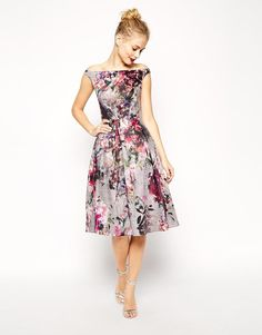 ASOS | ASOS Beautiful Floral Printed Midi Prom Dress at ASOS