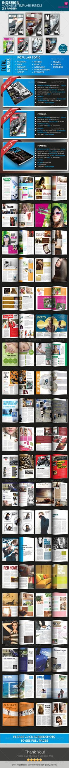 Best Indesign Magazine Template Bundle (92 Pages) #GraphicRiver The Best InDesign Magazine Template Bundle (92 pages) 92 full creative page layout, with a sleek design and attractive colors make this a very professional magazine, this magazine is perfect for popular topics such as women's magazines, fashion magazines, home / interior magazines, sports magazines, technology magazines, food magazines , and other popular topics Version 1 : graphicriver /item/magazine-template/3206819 Version 2…
