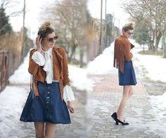 Kamila Z - Shein Jacket, Shein Blouse, Romwe Skirt, Lovelywholesale Shoes, Zaful Sunglasses - City boho | LOOKBOOK