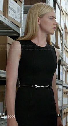 Katrina's black sleeveless seamed dress on Suits.  Outfit Details: http://wornontv.net/36017/ #Suits