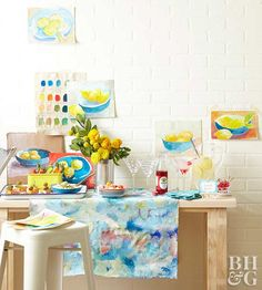 Party creatively with an afternoon of painting, snacking, and cocktails. A painting party is the perfect excuse to get together with friends and try something new. Bonus: It's so easy to plan and host. So gather some brushes, snacks, and your best lady friends for a masterpiece of a party.