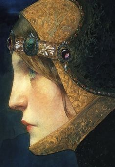 """""""Head of a Lady in Medieval Costume"""", 1900  Lápis e aguarela"""