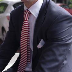 Red Horizontal Striped Tie