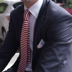 Red Horizontal Striped Tie