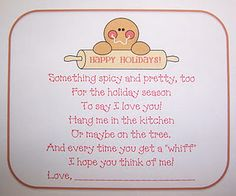 Cinnamon Ornament Poem to go with cinnamon ornaments - - perfect teacher gift!!!