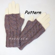 Instant Download to PDF CROCHET Pattern: Ribbed Cabled Knit-Look Fingerless Mitts on Etsy, $4.98