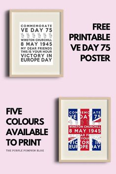 Free Printable VE Day 75 Subway Art Poster - 5 colors available to download and print + more free VE Day Party Printables