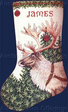 Rare Neal Anderson Christmas Cross Stitch Stocking Kit Reindeer