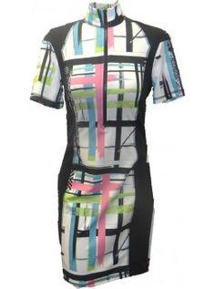 Kevan Hall Women's Short Sleeve Cold Shoulder Golf Dress- Pretty Abstract