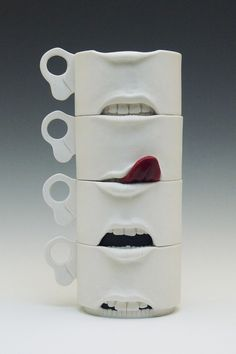 Jonah Amadeus- Expressions- wheel thrown and altered cups Pottery Mugs, Ceramic Pottery, Pottery Art, Mug Design, Clay Design, Keramik Design, Cute Mugs, Ceramic Clay, Clay Crafts