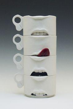 Jonah Amadeus- Expressions- wheel thrown and altered cups Pottery Mugs, Ceramic Pottery, Pottery Art, Mug Design, Clay Design, Keramik Design, Ceramic Clay, Clay Art, Sculpture Art