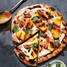 Grilled Pizza Recipes: Pineapple Dessert Pizza with Pecans and Caramel