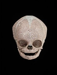 Yes, Damien's at it again.  No, it's not a real skull.  But it is cast in platinum from an actual skull.
