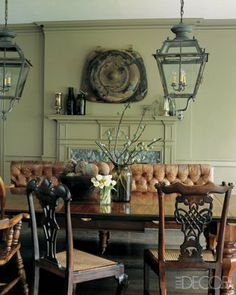 dining room...tufted leather