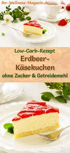 Low Carb Erdbeer-Käsekuchen – Quarkkuchen-Rezept ohne Zucker Lightweight cheesecake with strawberries: Simple low-carb recipe for creamy strawberry quark cake with no sugar and cereal flour; for a fruity, healthy, calorie-reduced coffee table … Light Cheesecake, Low Carb Cheesecake, Strawberry Cheesecake, Strawberry Cookies, Baby Food Recipes, Low Carb Recipes, Cake Recipes, Dessert Recipes, Keto Desserts