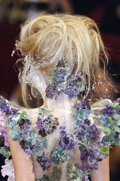 An ethereal, fairy dress by Alexander Mcqueen featuring spider webbing and clusters of purple, blue, and green flowers on shear nude fabric. Possibly chiffon. Fashion Details, Look Fashion, Fashion Art, Fashion Design, High Fashion, Couture Details, Floral Fashion, Alexander Mcqueen, Tanya Dziahileva