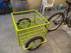 remolque para bicicleta o motoneta Bike Cargo Trailer, Cargo Bike, Pvc Pipe Projects, Welding Projects, Beer Bike, Homemade Tractor, Bike Cart, Flower Cart, Drift Trike