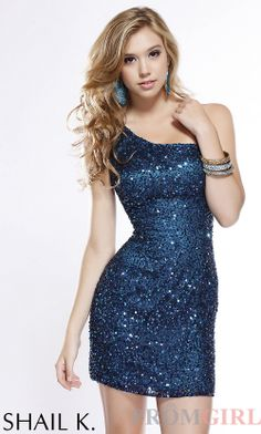 One Shoulder Short Sequin Dress on Wanelo