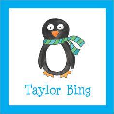 Winter Penguin Square Stickers