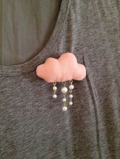 Pink fabric cloud brooch with pearl rain drops