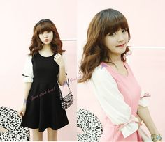 New Hot Korean Fashion Women Sweet Girl Chiffon Mid Sleeve Chic Casual Dress