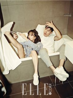 Additional photos of celebrity couple Yoon Seung ah and Kim Moo Yeol form their photo shoot with Elle Magazine. The couple are endorsing fashion brand SJSJ, a women's fashion brand, for the pictorial. The couple will be getting married on April Korean Couple Photoshoot, Couple Shoot, Korean Actresses, Korean Actors, Seung Ah, Romantic Mood, Couple Photography Poses, Wedding Photography, Elle Magazine