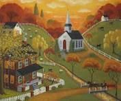 Autumn Evening Folk Art Painting  by Mary Charles aka starlitestudios