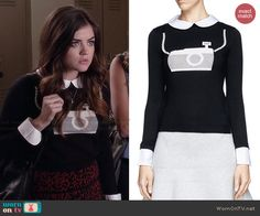 Aria's camera sweater on Pretty Little Liars.  Outfit Details: http://wornontv.net/43590/ #PLL