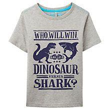 Buy Little Joule Boys' Marly Shark Vs Dino T-Shirt, Grey Online at johnlewis.com
