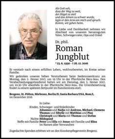 Todesanzeige für Roman Jungblut vom 30.12.2016 - VN Todesanzeigen