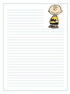 Imprime gratis papel de cartas infantil para niños de Charlie Brown en Snoopy