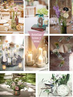 En una boda amigable con la ecología es fundamental el reciclaje de envases para la ambientación.
