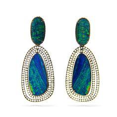 SILVIA FURMANOVICH Opal Plaque Earrings 18 carat gold, diamond and opal…