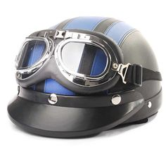 ECE DOT Motorcycle Open Face Half Leather Helmet &Visor UV Goggles Retro Vintage