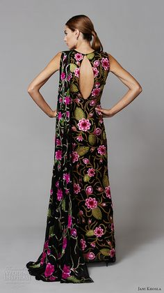 jani khosla 2015 bridal evening dress sleeveless jewel neckline floral side slit sheath gown pink lotus back
