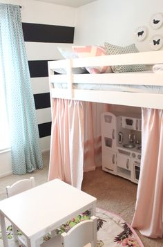 precious little girls room with a loft bed, pink curtains, black and white striped walls, play kitchen. I love the soft pink curtains Casa Kids, Pink Curtains, Bed Curtains, Striped Walls, Little Girl Rooms, Kid Spaces, Small Spaces, Lofts, My New Room
