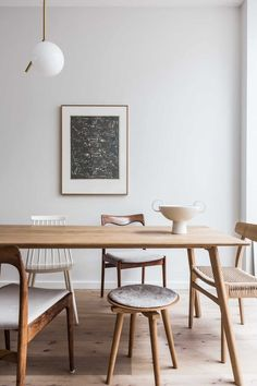 at home with avenue design studio. / sfgirlbybay modern wood dining table with mismatched wood chairs. Dining Room Decor, Room Inspiration, Room Design, Decor, House Interior, Interior, Wood Dining Table Modern, Home Decor, Dining Room Inspiration