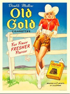 Cowgirl. Old Gold cigarettes (George Petty) advertisement