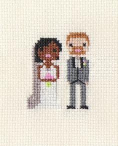 Wedding Custom Pixel Cross Stitch Portrait by ScarletPyjamas