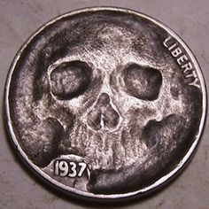 JOHN HUGHEY HOBO NICKEL - FREAKY FACE SKULL - 1937 BUFFALO NICKEL