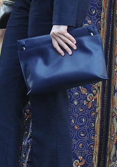 Loewe Large Double Pouch - Navy leather. Debuted Nov 2015. Click for more details
