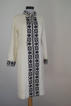 Vintage 1970s dress White with Black Embroidery by DanielaDavid,