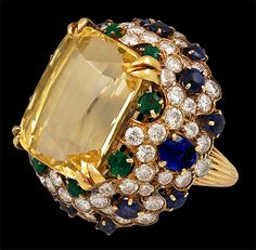 Blue and Yellow Sapphire, Diamond, Emerald Ring by  Van Cleef & Arples